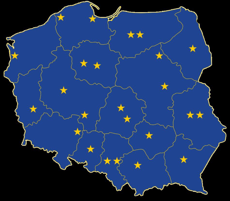 Mapa przedstawia punkty sieci Europe Direct